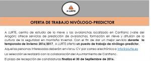 Oferta de trabajo nivológico - predictor