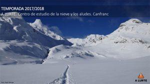TEMPORADA 2017/2018 A LURTE. Centro de estudio de la nieve y los aludes. Canfranc